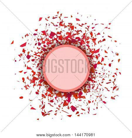 Red Confetti Round Banner Isolated on White Background. Set of Particles.
