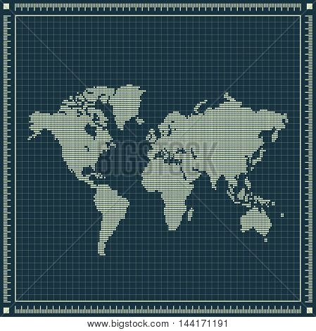 Dotted world map over blueprint background. Vector retro illustration.