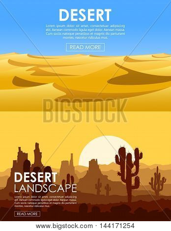 Set of desert landscapes with yellow sand dunes, cactuses, mountains and blue sky. Vector illustration.