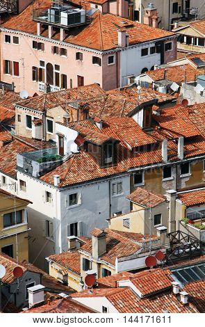 Italy. Venice, architecture kind from height of the bird's flight, roofs