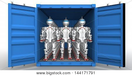 Robots in the cargo container. A large number of robots standing in an open freight container. Isolated. 3D Illustration