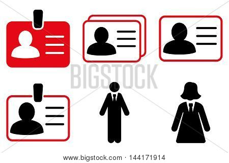 Person Account Card vector icons. Pictogram style is bicolor intensive red and black flat icons with rounded angles on a white background.