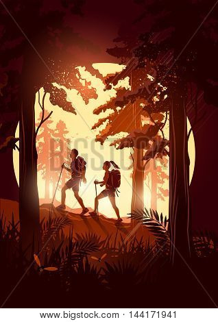 A couple of people with backpacks enjoy hiking through a scenic forest. Vector illustration