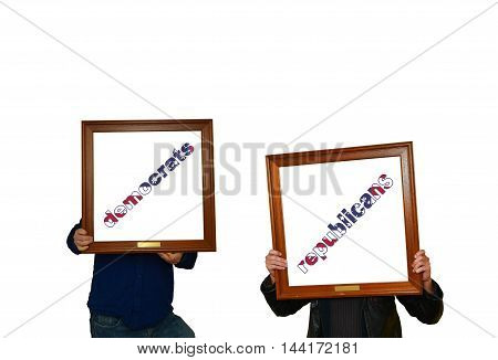 Tho mans holding picture frames with the inscription democrats-republicans
