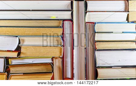Set of books in the library. Knowledge Science. Toned image