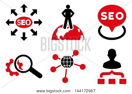 Seo Marketing vector icons. Pictogram style is bicolor intensive red and black flat icons with rounded angles on a white background.