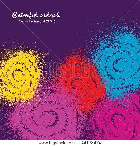 Colorful paint splash swirl on violet background. Vector illustration.