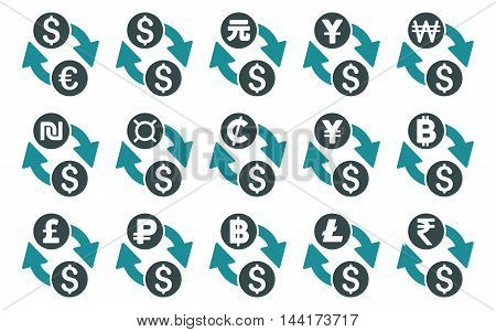 All Currency Exchange vector icons. Pictogram style is bicolor soft blue flat icons with rounded angles on a white background.