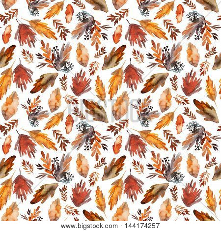 Seamless pattern with hand drawn watercolor leaves. Autumn pattern. Ornament for wrapping paper. Hand drawn ink illustration. Red and orange plant.