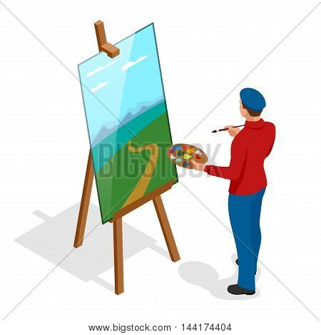 Isometric Artist painter at work easel palette. Flat 3d infographic concept vector template.