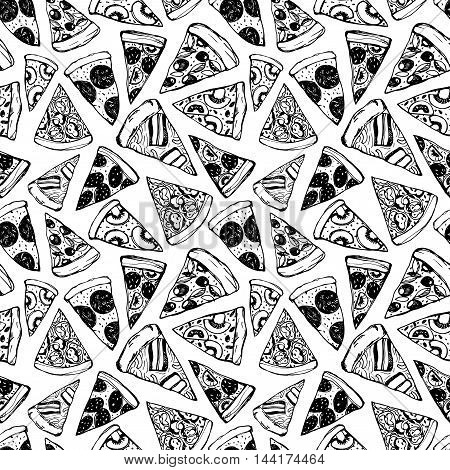 Seamless pattern with hand drawn pizza. Ink illustration. Hand drawn food ornament. Elements for wrapping paper. Hand drawn pattern for Pizza Fest.