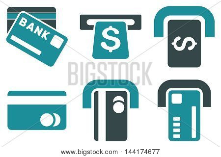 Bank ATM vector icons. Pictogram style is bicolor soft blue flat icons with rounded angles on a white background.