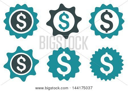 Bank Seal vector icons. Pictogram style is bicolor soft blue flat icons with rounded angles on a white background.