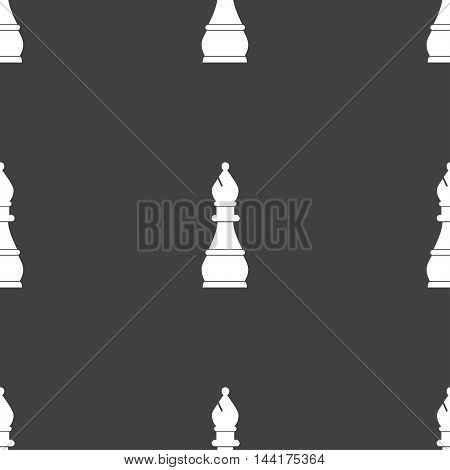 Chess Bishop Sign. Seamless Pattern On A Gray Background. Vector