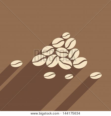 Flat with shadow icon and mobile application coffee beans