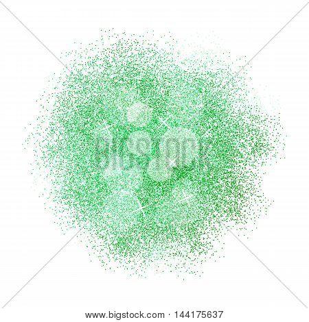 Green glitter splash on white background. Vector illustration.