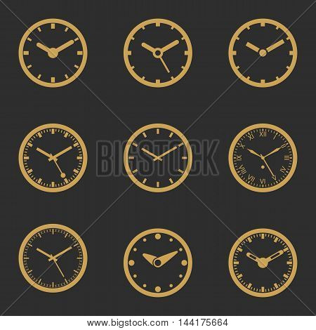 Clock Icon Set In Gold Color - Outline Isolated Vector Illustration. Simplified Lines Design.