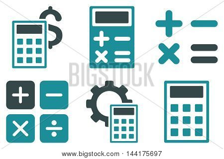 Calculator vector icons. Pictogram style is bicolor soft blue flat icons with rounded angles on a white background.