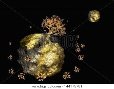 Fractal abstraction of the planets and the tree on black background. Autumn, in orbit circling leaves.