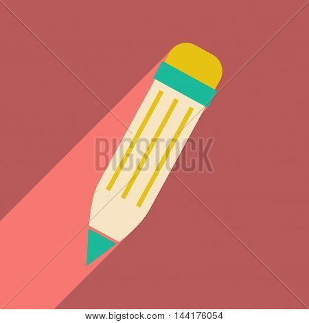 Flat with shadow icon and mobile application colored pencil