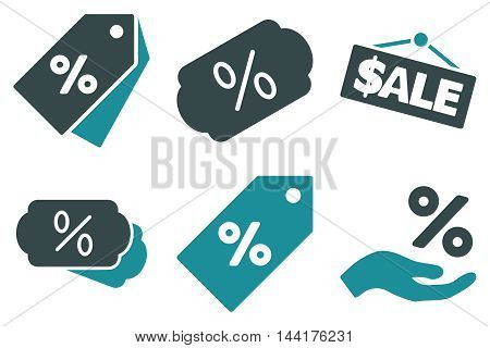 Discount Percent vector icons. Pictogram style is bicolor soft blue flat icons with rounded angles on a white background.