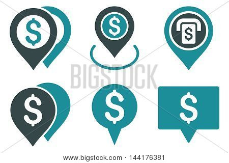 Dollar Map Pointer vector icons. Pictogram style is bicolor soft blue flat icons with rounded angles on a white background.