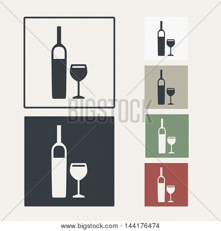 vector icon set of bottle and glass for wine
