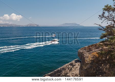 Crimea Mountains And Black Sea Landscape, Good Sunny Day