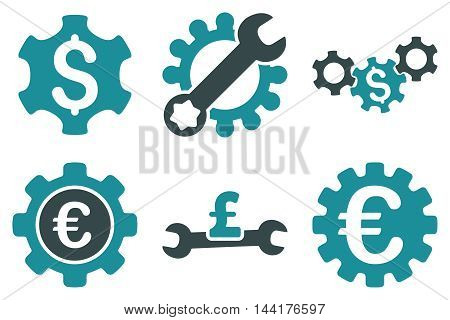 Financial Settings vector icons. Pictogram style is bicolor soft blue flat icons with rounded angles on a white background.