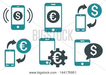 Mobile Banking vector icons. Pictogram style is bicolor soft blue flat icons with rounded angles on a white background.
