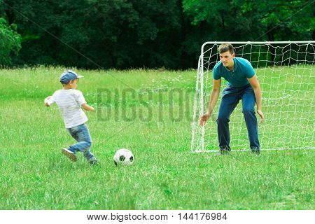 Father And Son Playing Soccer On A Green Grass In The Park