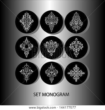 Vector illustration of monochrome round set of delicate . Hand drawn flat thin line art design for card, cloth, fabric, invitation, book, serviette, wedding, logo