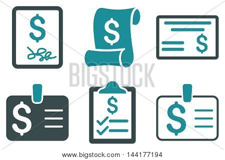 Payment Cheque vector icons. Pictogram style is bicolor soft blue flat icons with rounded angles on a white background.