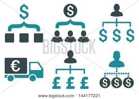 Payment Collector vector icons. Pictogram style is bicolor soft blue flat icons with rounded angles on a white background.