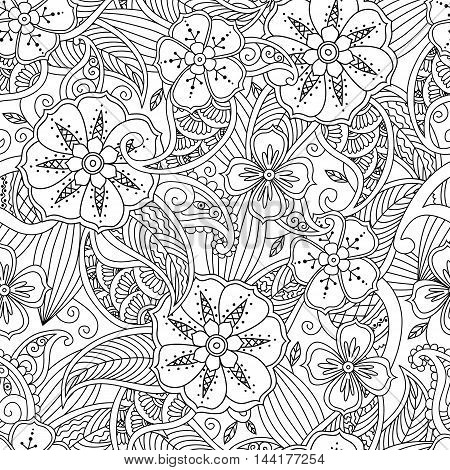 Monochrome seamless pattern with flowers and leafs in doodle mendie style. Coloring page with beautiful floral motif. Good quality coloring book for adult and children. Zentangle inspired artwork.