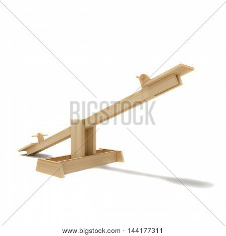 Baby wood swing 3d render illustration isolated on white background
