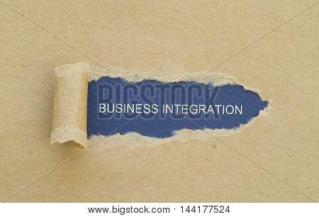 Business Integration Word written under torn paper.
