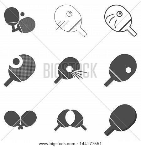 Ping pong table tennis flat gray icon