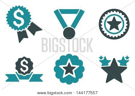 Reward vector icons. Pictogram style is bicolor soft blue flat icons with rounded angles on a white background.