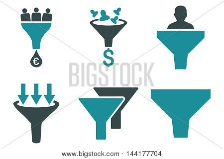 Sales Funnel vector icons. Pictogram style is bicolor soft blue flat icons with rounded angles on a white background.
