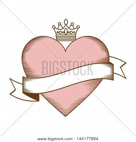 heart love label crown romantic passion symbol icon design vector illustration