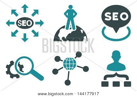 Seo Marketing vector icons. Pictogram style is bicolor soft blue flat icons with rounded angles on a white background.