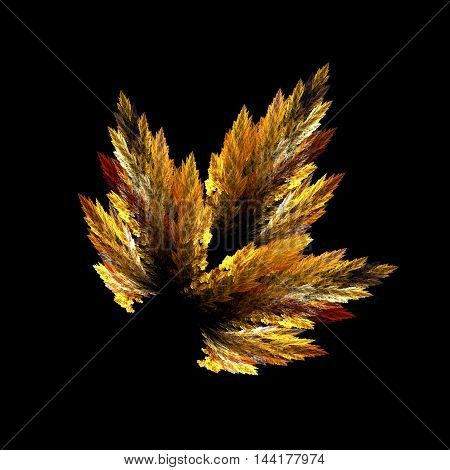 Fractal abstraction, a colorful autumn leaf in Golden yellow colours, on a black background
