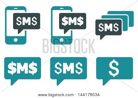 SMS Messages vector icons. Pictogram style is bicolor soft blue flat icons with rounded angles on a white background.