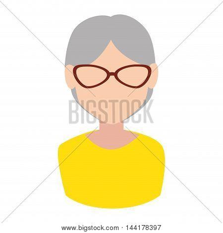 grandmother face old lady female glasses avatar vector illustration