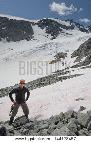 A mountain climber in the coastal range of BC