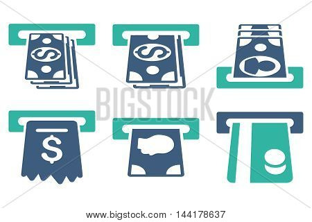 ATM Cashpoint vector icons. Pictogram style is bicolor cobalt and cyan flat icons with rounded angles on a white background.