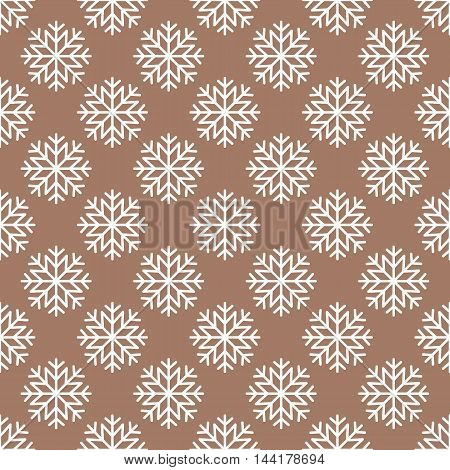 Vector white snowflakes seamless pattern on brown background