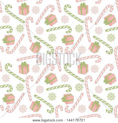 Vector Christmas seamless pattern with candy sticks and gift boxes