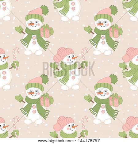 Vector Christmas seamless pattern with snowmen, candy sticks and gift boxes